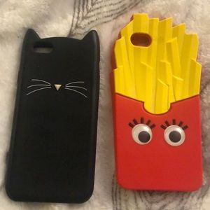 iPhone 6 cases cat and French fries with earphone